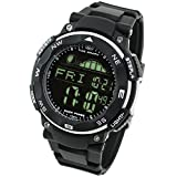 Lad Weather Tide Graph Watch Moon Phase Stopwatch Pacer Alarm Fishing Outdoor (Black/Black)