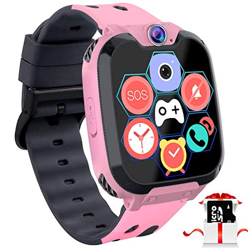 Kids Game Smart Watch Phone - 1.54' Touch Screen Game Smartwatches with [1GB Micro SD Card] Call SOS Camera 7 Games Alarm Clock Music Player Record for Children Boys Girls Birthday Gifts 3-10 (Pink)