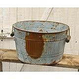 Rusty Galvanized Metal Wash Tub - Primitive Country Rustic Decorative Home Accent