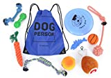 Dog Toys Pack | Toy Assortment for Small and Medium Breeds (Gift Set of 10) + Small Drawstring Backpack by Wise Dogs