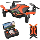Mini Drones with Camera - Portable Foldable FPV Drone with Camera for Kids & Beginners, Mini RC Drones w/Gravity Control/Voice Control/Trajectory Flight/AR Game/Altitude Hold/App Control
