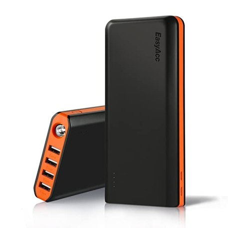 EasyAcc 20000mAh Portable Charger Fast Recharge Power Bank with 4A 2-Port Input 4.8A Smart Output High Capacity External Battery Pack for iPhone iPad Samsung Android - Black and Orange