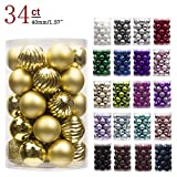 "KI Store 34ct Christmas Ball Ornaments Shatterproof Christmas Decorations Tree Balls Small for Holiday Wedding Party Decoration, Tree Ornaments Hooks Included 1.57"" (40mm Gold)"