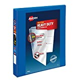 """Avery Heavy Duty View 3 Ring Binder, 1"""" One Touch Slant Ring, Holds 8.5"""" x 11"""" Paper, 1 Pacific Blue Binder (79720)"""
