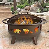 Landmann 23875 Fire Dance Bear and Paw Fire Pit, Metallic Brown
