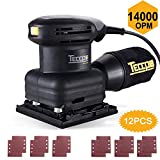 TECCPO Sheet Sander, 14,000 OPM Sheet Orbital Sander & 12 Pcs Sandpapers, Palm Size with Dust Collection Bag, for Removing Paint, Polishing, Sanding Down & Finishing Wood (sheet 23P)