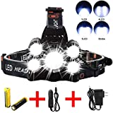 Headlamp Flashlight, Ultra Bright LED Work Head lamp Bright 6000 Lumen Head Lamp, 5 LED Work Headlight USB Rechargeable Waterproof Zoomable Flashlight for Running Camping Fishing Outdoor Work (Black)