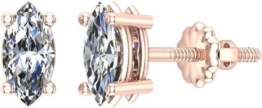 18K Gold Diamond Stud Earrings Marquise Cut Earth-mined (G, VS)