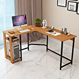 Jerry & Maggie - L Shaped Office Desk Computer Desk Table Personal Working Space Lapdesk Corner Set with Wood Surface Board & Steel Frame Support for Livingroom Bedroom Office - Natural Wood Tone