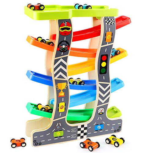 Lewo Toddler Toys Wooden Ramp Racer for 1 2 3 Year Old Girls Boys Wood Race Track with 8 Mini Cars