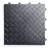 RaceDeck Diamond Plate Design, Durable Interlocking Modular Garage Flooring Tile (24 Pack), Graphite