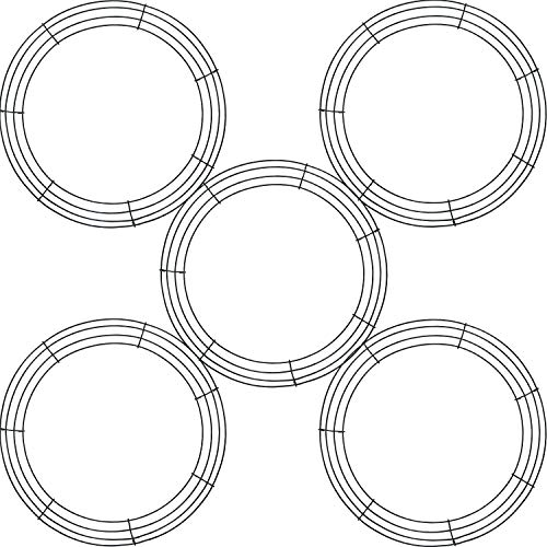 Tatuo 5 Pieces Metal Wreath Frame Ring Round DIY Macrame Floral Crafts Wire Wreath Form St. Patrick's Day Easter Memorial Day 4th of July Decoration Door Craft (8 Inch)