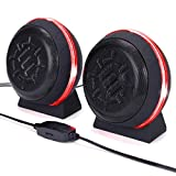 ENHANCE SL2 USB Computer Speakers with LED Red Glowing Lights, 3.5mm Wired Connection and in-Line Volume Control - 5 Watt Drivers, 2.0 Sound System for Gaming Desktop, Laptop, PC Computers