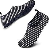 SIMARI Anti Slip Water Shoes for Women Men Summer Outdoor Beach Swim Surf Pool SWS001 Stripe Black&White 11-12.5