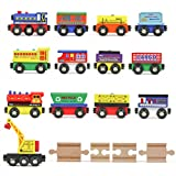 Tiny Conductors 12 Wooden Train Cars + 1 Bonus Crane + 4 Bonus Connectors Locomotive Tank Engines and Wagons for Toy Train Tracks; Compatible with Thomas Wood Toy Railroad Set (Trains)