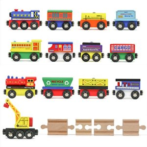 Tiny Conductors 12 Wooden Train Cars, 1 Bonus Crane, 4 Bonus Connectors, Locomotive Tank Engines and Wagons for Toy Train Tracks, Compatible with Thomas Wood Toy Railroad Set (Trains) 51 2BjlR0n7DL