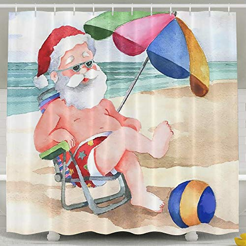 Waterproof Bath Curtain Santa Claus Beach Holiday Shower Curtain 100% Polyester Fabric 47' X 72'