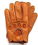 Riparo Genuine Leather Reverse Stitched Driving Gloves (Medium, Cognac)