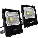 LEPOWER 50W LED Flood Light 2 Pack, Super Bright Outdoor Work Light With Plug, 250W Halogen Bulb Equivalent, IP66 Waterproof, 4000lm, 6000K, Outdoor Led Lights (White Light)
