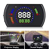 XYCING Car HUD Heads Up Display 5.8 inch OBD Digital Speedometer Windshield Projector OBD2 Vehicle Speed Dashboard Display MPH, RPM, Fuel Consumption, Speed Alarm, Water Temperature, Voltage, Mileage