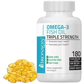 Omega 3 Fish Oil Triple Strength 2720 mg, 1250 EPA 488 DHA, Non GMO, Gluten Free, Strongest Omega-3 Supplement On The Market