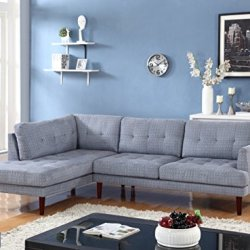 Beverly Fine Furniture SH6001A Emeral Left Facing Linen Sectional Sofa, Light Blue