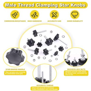 Mardatt-20-Sets-M4x10mm-Star-Knobs-Male-Thread-Clamping-Knob-Screw-Hand-Tightening-Knob-Quick-Removal-Replacement-Parts-with-304-Stainless-Steel-Hex-Nuts-and-Flat-Washers
