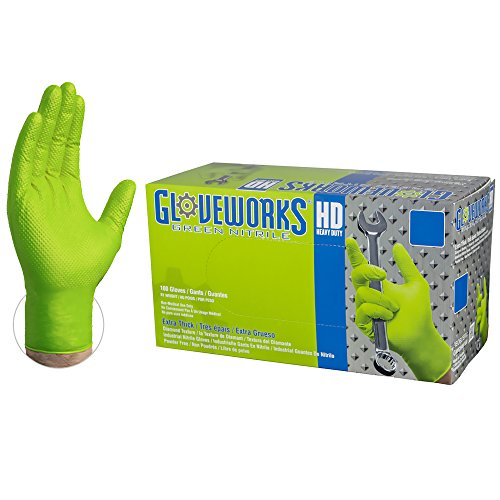 GLOVEWORKS HD Industrial Green Nitrile Gloves - 8 mil, Latex Free, Powder Free, Diamond Texture, Disposable, Heavy Duty, Large, GWGN46100-BX, Box of 100