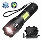 Tactical LED Flashlight with COB Light - Portable, Zoomable and Water Resistant, Powered CREE T6 LED Handheld Light with 5 Modes - Super Bright Torch for Outdoors, Home or Gift-Giving