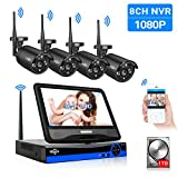 [8CH Expandable] All in one with 10.1'LCD Monitor Wireless Security Camera System, Home Business 8CH 1080P NVR Kit 4pcs 2MP Outdoor Bullet IP Cameras(Black) 65ft Night Vision Waterproof,1TB Hard Drive