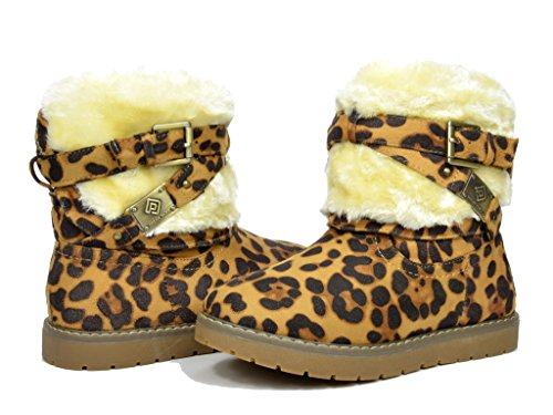 DREAM PAIRS Toddler Kailey Leopard Faux Fur Lined Mid Calf Winter Snow Boots - 8 M US Toddler