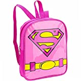 "Supergirl Mini Backpack 11"" Preschool Toddler with Glitter Emblem"