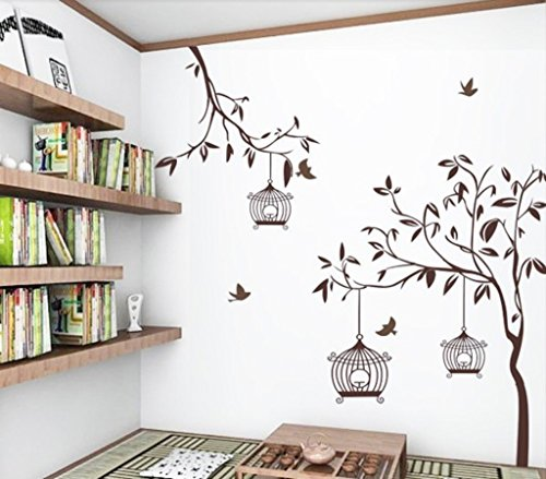 51%2BqhqNP0%2BL - Decals Design StickersKart Wall Stickers Tree with Birds and Cages (Brown)
