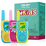 Walkie Talkies for Kids, 22 Channels 2 Way Radio Kid Gift Toy 3 Miles Long Range with Backlit LCD Flashlight Best Gifts Toys for Boys and Girls to Outside Adventure, Camping 3 Pack (Blue&Pink&Yellow)