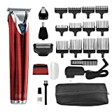 Wahl Stainless Steel Lithium Ion Plus - Red Beard Trimmer and Shaver for Men | Nose and Ear Hair Trimmer | Rechargeable All in One Men's Grooming Kit | By the Brand Used by Professionals | Model 9864R