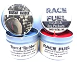 Combo - 4oz Burnt Rubber & 4oz Race Fuel Soy Candle Tins - Great Gift for Men & Race Fans