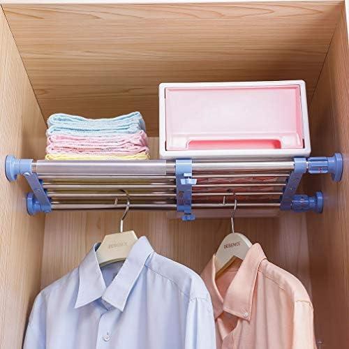 Hershii Closet Tension Shelf & Rod Expandable Metal Storage Rack Adjustable Organizer DIY Divider Separator for Cabinet Wardrobe Cupboard Kitchen Bathroom - Blue