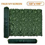 Sunshades Depot 58' x 196' inch Artificial Faux Ivy Privacy Fence Screen Leaf Vine Decoration Panel with 130 GSM Mesh Back