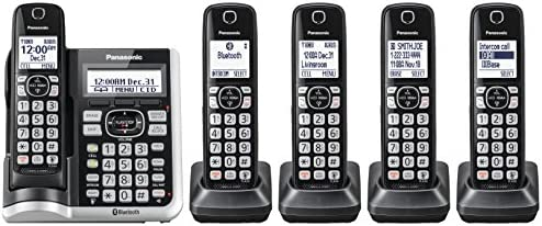 Panasonic Link2Cell Bluetooth Cordless Phone System with Voice Assistant, Call Blocking and Answering Machine. DECT 6.0 Expandable Cordless System - 5 Handsets - KX-TGF575S (Black with Silver Trim) 13