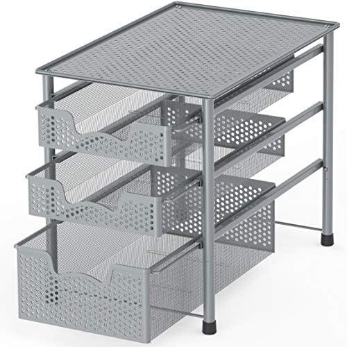 Simple Houseware Stackable 3 Tier Sliding Basket Organizer Drawer, Silver