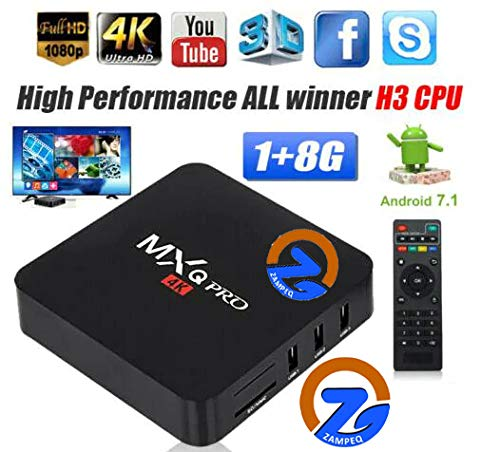ZAMPEQ MXQ Pro 4K Android TV Box 1GB RAM/8GB ROM 64 Bit Quad Core Wi-Fi UHD Smart TV Box - Black 101