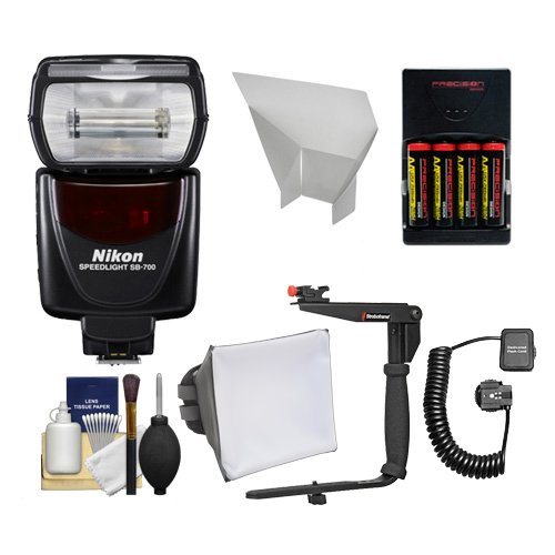 Nikon SB-700 AF Speedlight Flash with Bracket + Cord + Softbox + Reflecter + Batteries for D3300, D3400, D5500, D7200, D500, D610, D750, D810 Cameras