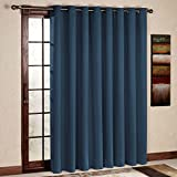 RHF Wide Thermal Blackout Patio door Curtain Panel, Sliding door curtains Antique Bronze Grommet Top 100W by 84L Inches-Navy