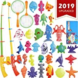 CozyBomB Magnetic Fishing Toys Game Set for Kids Bathtime Pool Party with Pole Rod Net, Plastic Floating Fish - Toddler Education Teaching and Learning of all Size Colors Ocean Sea Animals 3 year olds