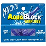 Mack's AquaBlock Earplugs, 2 Pair, Comfortable, Waterproof, Ear Plugs for Swimming, Snorkeling and Showering