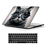 MacBook Pro 13 Case 2018 2017 2016 Release A1989/A1706/A1708, iCasso Hard Case Shell Cover and Keyboard Skin Cover for Apple Newest Macbook Pro 13' Retina with/without Touch Bar and Touch ID-Cool Cat
