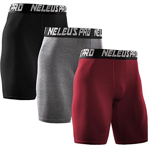 Neleus Men's 3 Pack Athletic Compression Short,6028,Red,Black,Grey,US L,EU XL