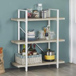 Homissue 3-Shelf Modern Industrial Bookshelf, Light Oak Shelves and White Metal Frame, Open Storage Display Bookcases Furniture, 39.9-Inch Height
