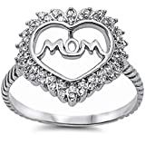 For Mom! Cubic Zirconia Heart w/ Mom .925 Sterling Silver Ring Size 7