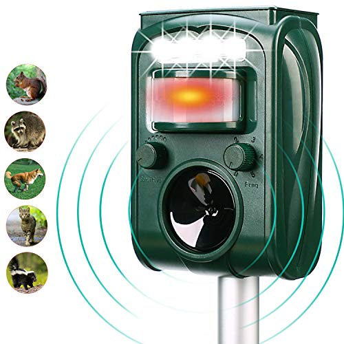 FAYINWBO Solar Outdoor Animal Repeller, Motion Sensor Alarm and Flashing, expelling Raccoons, Rabbits, Birds, Squirrels, Cats, Dogs, etc. Protected Courtyard, Lawn and Garden